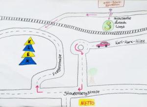 Von den Kindern gemalte Anfahrtsskizze zum KLEX