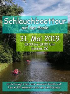 Der KLEX macht am 31.05.2019 eine Schlauchboottour auf der Saale. Weitere Informationen gibt es im KLEX.