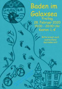 Flyerfront zu Baden im Galaxsea am 28. Februar - weitere Informationen gibt es im KLEX